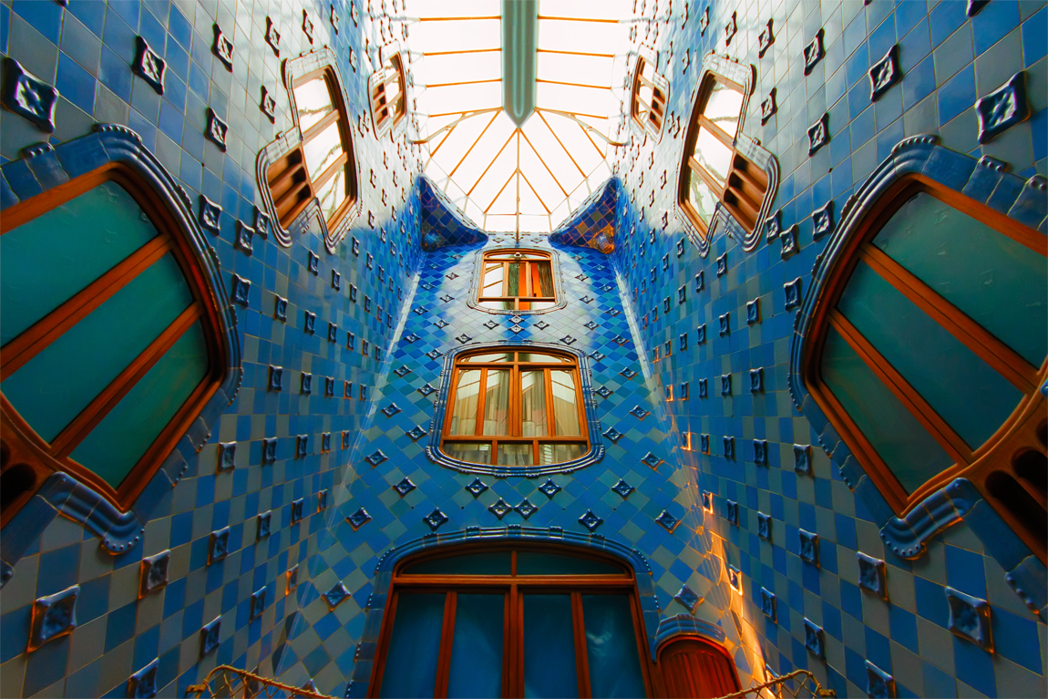 Vertical shaft that forms the center core of Casa Batllo, Barcelona
